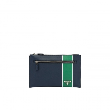 Prada 2NH005_2FAF_F0LZY 绿色几何风 拉链手拿包