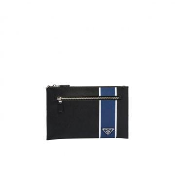 Prada 2NH005_2FAF_F011E 蓝色条纹 拉链手拿包