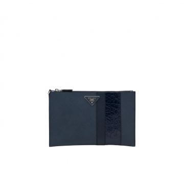 Prada 2NH005_2EVM_F0216 深蓝色 鳄鱼条纹 手拿包