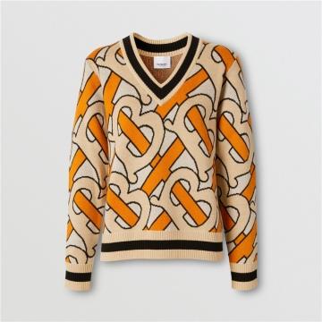 Burberry 80191841 亮橘色 专属标识嵌花 V 领羊毛衫