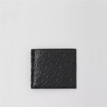 Burberry 80176451 黑色 专属标识皮革 双折钱夹