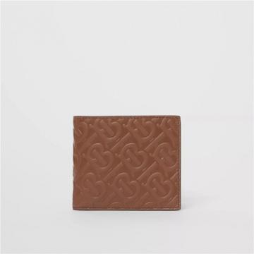 Burberry 80177061 深棕褐色 专属标识皮革 双折钱夹