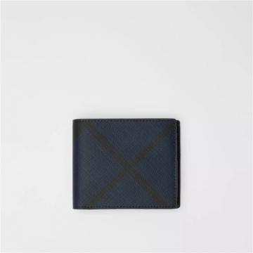 Burberry 80077761 海军蓝/黑色 London格纹双折钱夹