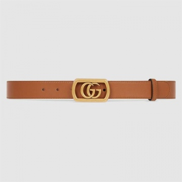 Gucci 575587 AP00T 2535 棕色 饰边框双G搭扣腰带
