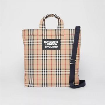 Burberry 80177401 Vintage格纹徽标嵌花棉质混纺托特包