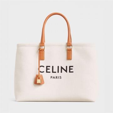 Celine 190062BNZ.02NT CABAS横款印花帆布和小牛皮手袋