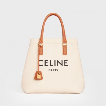 Celine 192162BNZ.02NT CABAS 小号横款CELINE印花帆布和小牛皮手袋