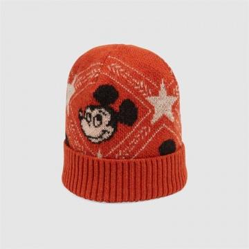 Disney x Gucci 604032 4GA50 7500 橘色 羊毛提花帽