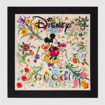 Disney x Gucci 607325 3G001 9888 花卉印花 真丝围巾