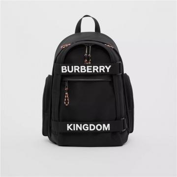 Burberry 80235691 黑色/白色 大号徽标拼 Kingdom装饰 Nevis双肩包