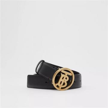 Burberry 80234471 黑色专属标识图案皮革腰带
