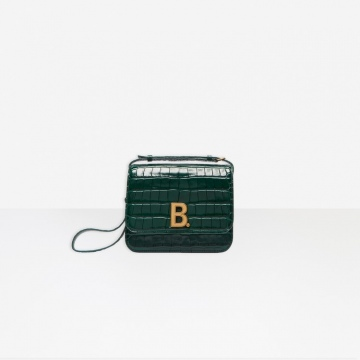 Balenciaga 5928981LR7M3011 绿色鳄鱼纹 B.小号提包 豆腐包