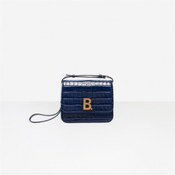 Balenciaga 5928981LR7M4611 深蓝色鳄鱼纹 B.小号提包 豆腐包