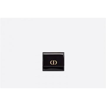 Dior迪奥 S2057OWPJ_M900 中号黑色漆皮牛皮革 30 MONTAIGNE LOTUS 钱包