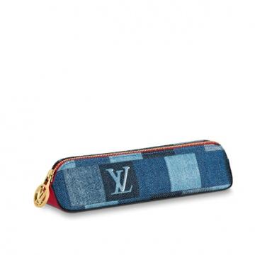 LV GI0444 ELIZABETH DENIM MONOGRAM CHECK 笔袋