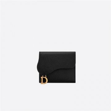 Dior迪奥 S5652CWVG_M900 黑色 中号牛皮革 莲花图案马鞍钱包