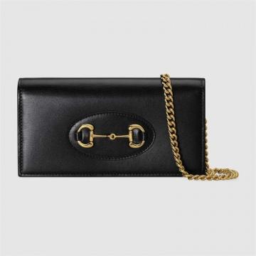 Gucci古驰 621892 0YK0G 1000 黑色 1955马衔扣 链带钱包