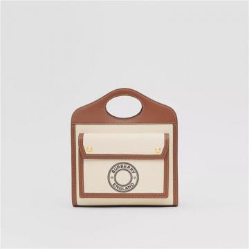 Burberry博柏利 80280621 棕褐色 迷你徽标图案帆布拼皮革口袋包
