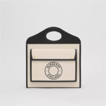 Burberry博柏利 80280411 黑色 中号徽标图案帆布拼皮革口袋包
