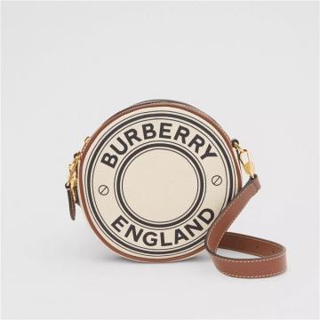 Burberry博柏利 80276021 Louise 徽标图案帆布拼皮革圆饼包
