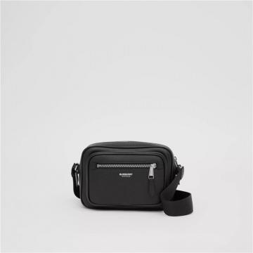 Burberry博柏利 80265551 黑色 粒纹皮革斜背包