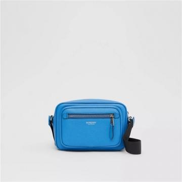 Burberry博柏利 80284991 纯蓝色 粒纹皮革斜背包