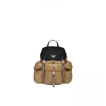 Prada普拉达 2VZ074_2DFC_F0ZV0_V_OOO 棕色 织物与Saffiano皮革背包