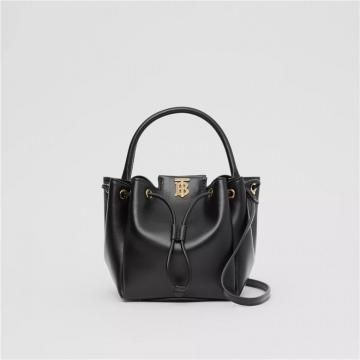Burberry博柏利 80285411 黑色 专属标识图案皮革水桶包