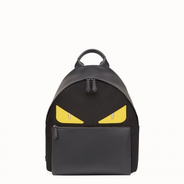 Fendi芬迪 7VZ012A2FSF0R2A 黄色BAGBUGS眼睛图案 黑色尼龙背包