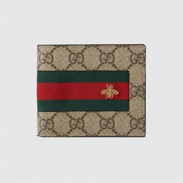 Gucci古驰 408827 KLQCN 8461 织带GG Supreme高级人造帆布钱包