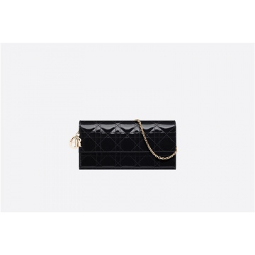 Dior迪奥 S0020OVRB_M900 黑色漆皮 LADY DIOR 钱包