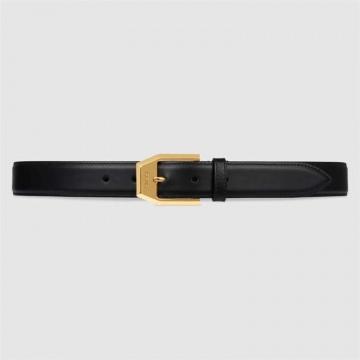 Gucci古驰 625473 BGH0G 1000 方形搭扣皮革腰带