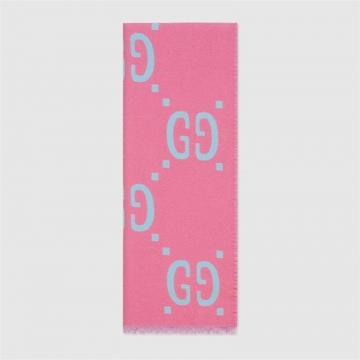 Gucci古驰 505395 3G020 5869 GG提花羊毛真丝围巾
