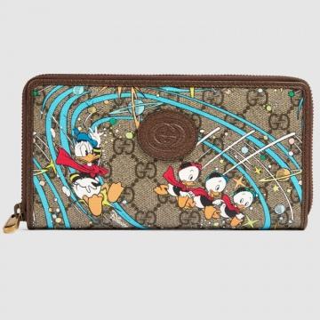 Gucci 647940 2M1AT 8679 Disney x Gucci唐老鸭印花 全拉链式钱包