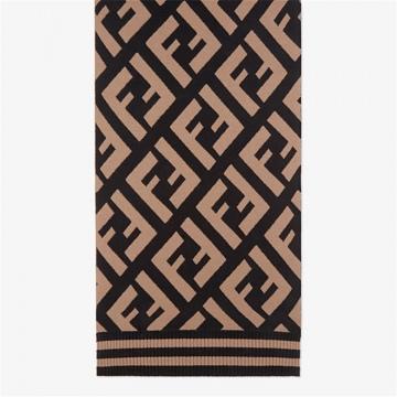 Fendi芬迪 FXT251A2OJF0QB8 FF经典图案羊毛混纺围巾