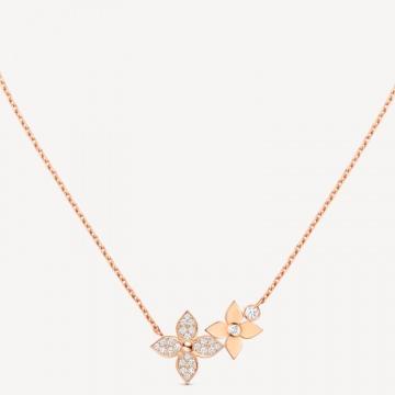 LV Q93689 STAR BLOSSOM 玫瑰K金配钻石项链