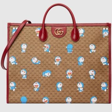 Gucci 653952 2TJAG 8580 Doraemon x Gucci联名系列大号托特包