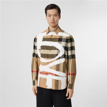 Burberry 80375281 心形印花格纹弹力棉质宽松衬衫