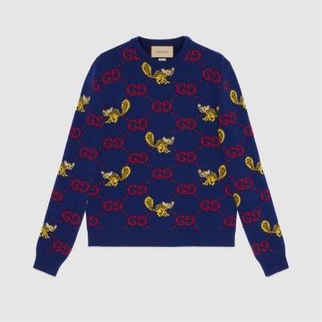 Gucci 661836 XKBXX 4795 饰Freya Hartas创作的动物图案羊毛毛衣