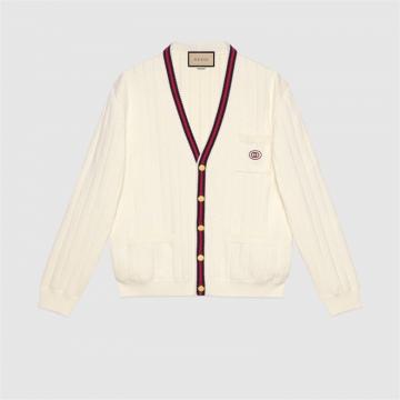 Gucci 654984 XKBUR 9182 针织棉质V领织带开衫