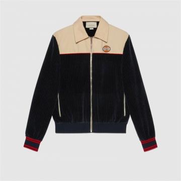 Gucci 645247 XJC6C 4447 罗纹棉天鹅绒拉链夹克
